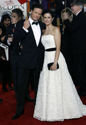 In a reworked wedding dress with a slim black belt, at the Golden Globes 2010