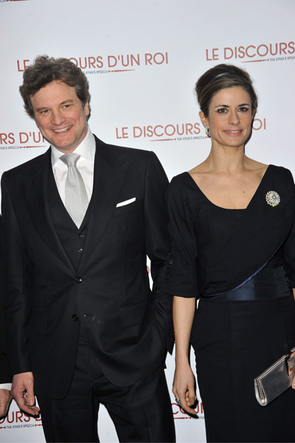 At the Paris premiere of The King's Speech in an outfit recycled from Colin Firth's old suit